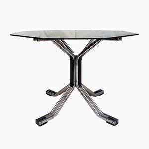 Tavolo da pranzo esagonale in metallo cromato e vetro
