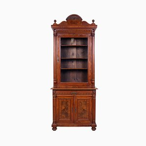 Antique Biedermeier Walnut Display Cabinet