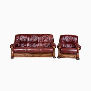 Set with Oak and Burgundy Leather Sofa & Armchair, 1960s