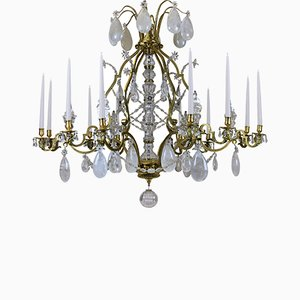 Large Antique Louis XIV Gilt Bronze & Rock Crystal Chandelier, 1830s