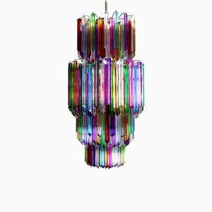 Großer mehrfarbiger Quadriedri Kronleuchter aus Muranoglas, 1984