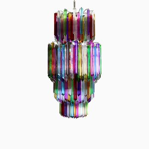 Large Multicolored Quadriedri Murano Glass Chandelier, 1984