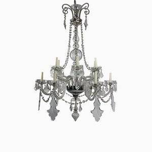 Large Antique French Cut Glass Chandelier, 1900s