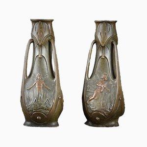 Vasi Art Nouveau di J. Garnier, fine XIX secolo, set di 2