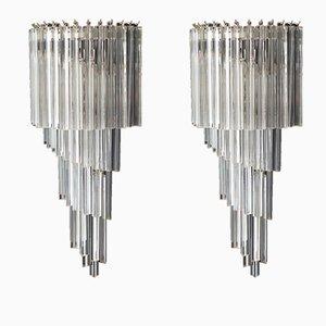 Lampade da parete grandi in vetro di Murano, 1982, set di 2