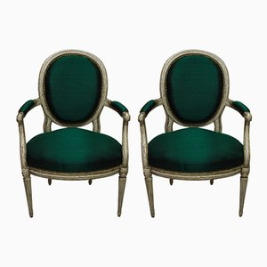 Antique 18th-Century French Armchairs, 1780s, Set of 2