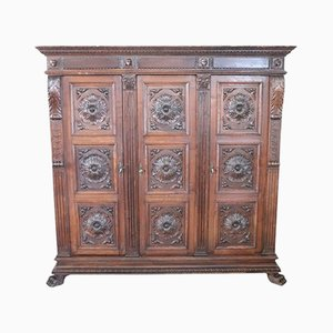 Antique Solid Carved Oak Bookcase, 1880s
