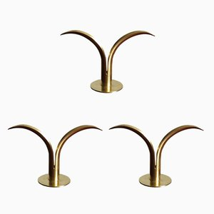 Swedish Liljan Candleholders by Ivar Alenius Björk for Ystad Metall, 1940s, Set of 3