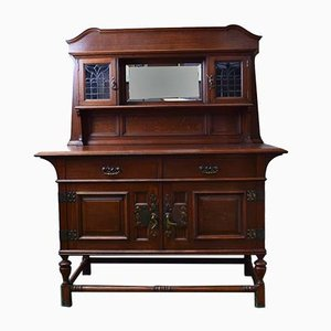 Arts & Crafts Cabinet with Overmantle Mirror from Maple & Co