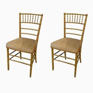 Beistellstühle aus vergoldetem Holz im Jugendstil, 2er Set