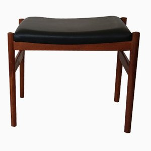 Black Leather & Teak Stool by Hugo Frandsen for Spøttrup, 1965