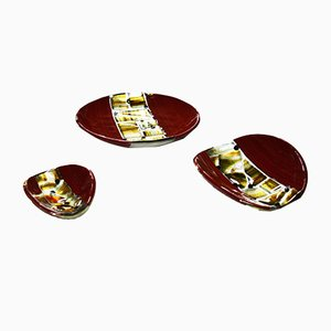 Red Pope Plates by Stefano Birello for VeVe Glass, 2019, Set of 3