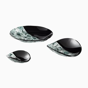 Black Baccan Centerpieces by Stefano Birello for VeVe Glass, 2019, Set of 3