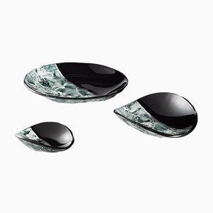 Schwarze Baccan Tafelaufsätze aus Muranoglas von Stefano Birello für VeVe Glass, 2019, 3er Set