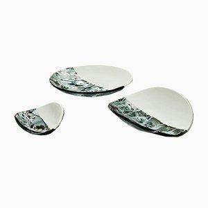 Centros de mesa Baccan de cristal de Murano en marfil de Stefano Birello para VeVe Glass, 2019. Juego de 3