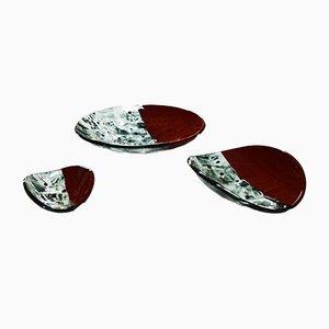 Centros de mesa Baccan en rojo de Stefano Birello para VeVe Glass, 2019. Juego de 3