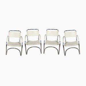 Chaises de Salon Vintage en Cuir, Italie, Set de 4