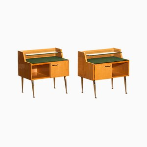 Italian Maple & Brass Nightstands by Paolo Buffa, 1950s, Set of 2