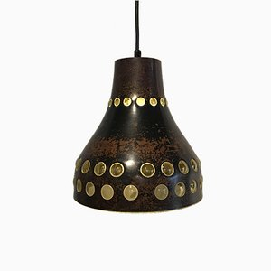 Vintage Brutalist Burned Copper Pendant Lamp, 1960s