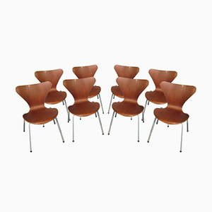 Sillas de comedor vintage de Arne Jacobsen para Fritz Hansen, 1955. Juego de 8