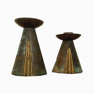 Candelabros de bronce, años 60. Juego de 2