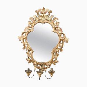 Specchio da parete vintage in legno intagliato e dorato, anni '50