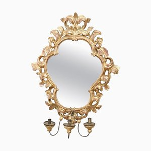 Vintage Carved and Gilded Wood Wall Mirror with Candle Holder, 1950s