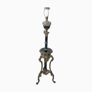 Antike Stehlampe aus Keramik & gemeißelter Bronze, 1870er