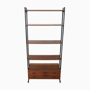 Italian Teak and Iron Bookcase, 1960s