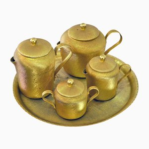 Engraved Golden Aluminum Tea Set, 1950s