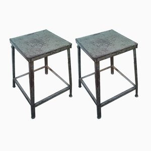 Industrielle Mid-Century Hocker, 2er Set