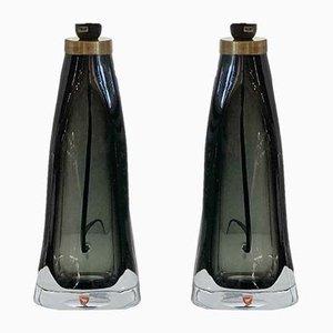Lámparas de mesa RD-1323 de vidrio verde de Carl Fagerlund para Orrefors, años 60. Juego de 2