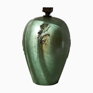 Scandinavian Modern Green Ceramic Table Lamp from Nittsjö, 1960s