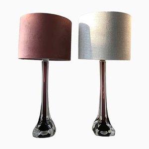 Burgunderrote Tischlampen von Paul Kedelv für Flygsfors, 1960er, 2er Set