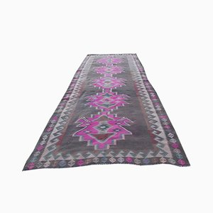 Large Vintage Turkish Pink Kilim Runner