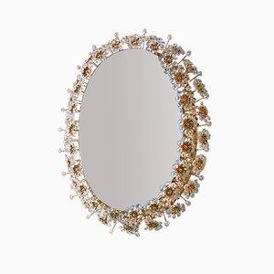 Ovaler Spiegel mit Kristallblumen und Hinterbeleuchtung von Palwa, 1960er