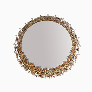 Round Backlit Mirror with Crystal Flowers from Palwa, 1960s