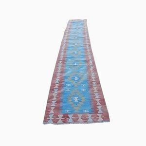 Alfombra de pasillo turca Mid-Century en azul
