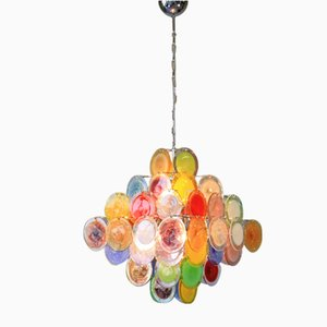 Colorful Murano Glass Discs Chandelier from Vistosi, 1988