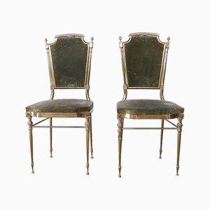 Mid-Century Stühle mit Gestell aus Messing, 2er Set