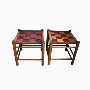 Sgabelli in legno e sisal, anni '60, set di 2