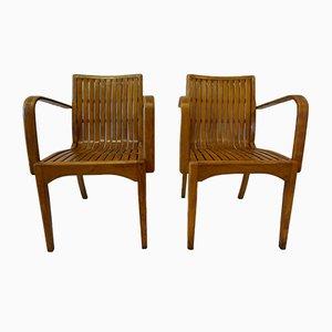 Wooden Patio Slat Armchairs, 1930s, Set of 2