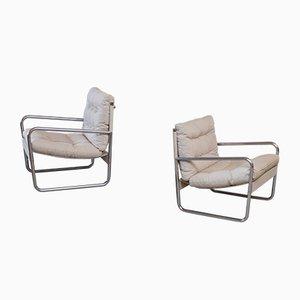 Schwedische Lehnstühle aus Leinen & Stahl, 1970er, 2er Set
