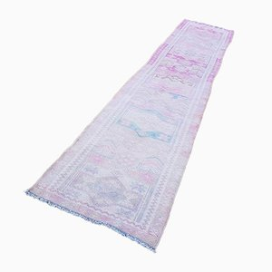 Long Vintage Kurdish Pale Pink & Rose Runner with Ornate Borders, 1970s