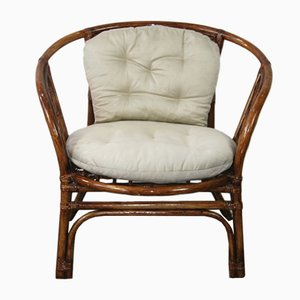 Vintage Rattan Armchair with Cushions, 1970s