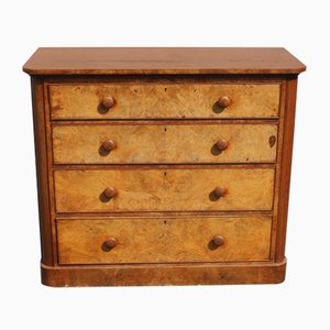 Mahogany Round Corner Chest of 4 Drawers, 1910s