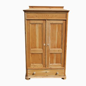 Antique 2 Door Pine Wardrobe, 1910s