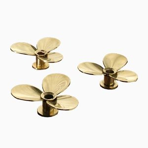 Propellern Brass Candle Holders by Pierre Forsell for Skultuna, 1960s, Set of 3