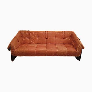 Brazilian Brutalist Leather Sofa from Percival Lafer, 1960s