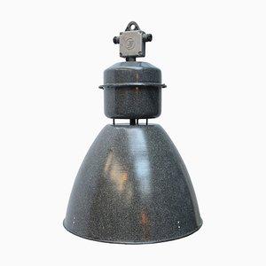 Vintage Industrial Gray Enamel Pendant Lamp